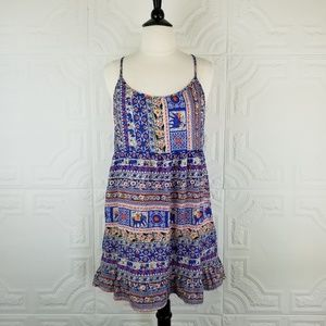 Folk Print Lightweight Boho Babydoll Sundress